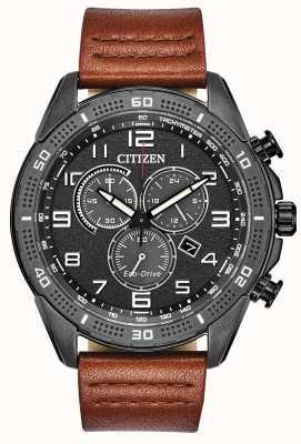 Citizen 男士驱动AR生态驱动黑色IP棕色皮革手表 AT2447-01E