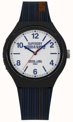 Superdry |海军硅胶表带|银色表盘| SYG252U