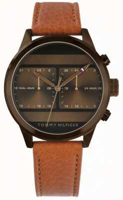 Tommy Hilfiger |男士棕色皮表带| 1791594