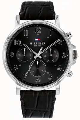 Tommy Hilfiger |男士黑色皮革daniel手表| 1710381