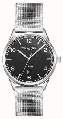 Thomas Sabo |不锈钢银网手链|黑色表盘| WA0339-201-203-40