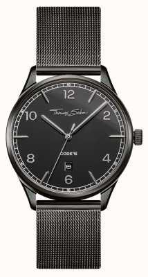 Thomas Sabo |黑色不锈钢网状手链|黑色表盘| WA0342-202-203-40