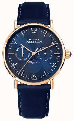 Michel Herbelin 男士montre灵感月相蓝色表盘蓝色表带 12747/PR15BL