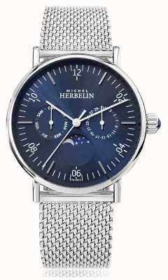 Michel Herbelin Montre灵感月相不锈钢网带蓝色表盘 12747/AP15B