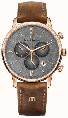 Maurice Lacroix Eliros计时码表纹理表盘棕色皮表带 EL1098-PVP01-210-1