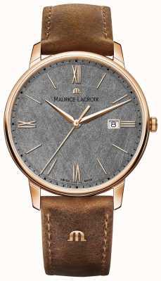Maurice Lacroix Eliros日期纹理表盘棕色皮革表带 EL1118-PVP01-210-1
