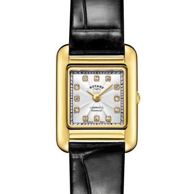 Rotary |女士黑色皮表带|金盒| LS05288/70/D