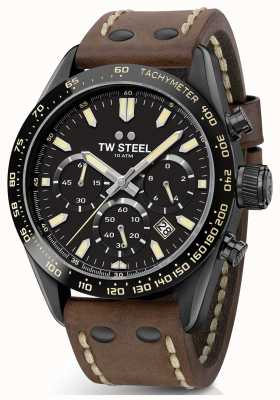 TW Steel |男士棕色皮革表带|黑色计时码表| CHS1