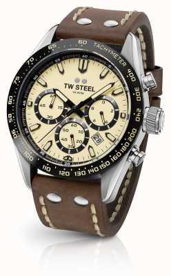 TW Steel |男士棕色皮革表带|奶油计时码表| CHS2