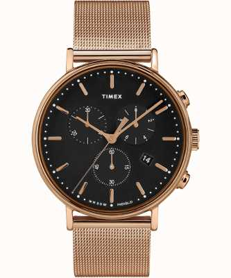 Timex | fairfield chrono黑色表盘|玫瑰金色调案例| TW2T37100D7PF