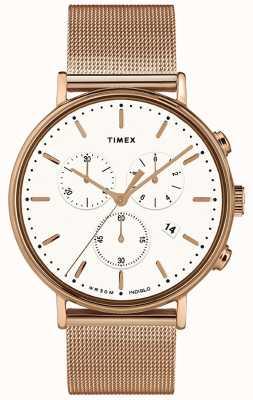 Timex | fairfield chrono白色表盘|玫瑰金色调案例| TW2T37200D7PF