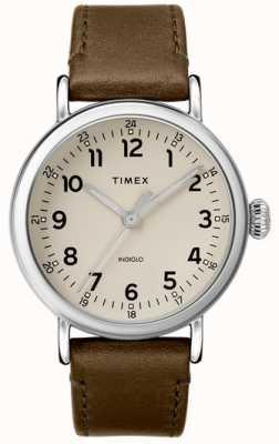 Timex |男士橄榄色皮革表带|灰色表盘 TW2T20100D7PF