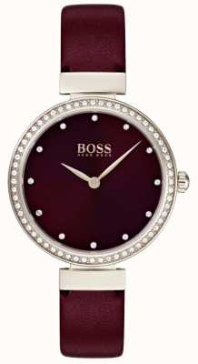 Boss |女士勃艮第皮革表带| 1502481