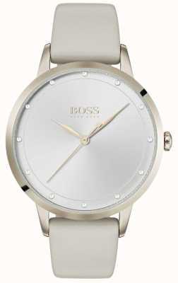 Boss 暮光之城女士灰色皮革表带|银表盘| 1502461
