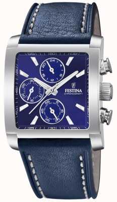 Festina |男士不锈钢计时码表|蓝色皮革表带| F20424/2