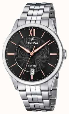 Festina  男士不锈钢手链 黑色/玫瑰色表盘  F20425/6
