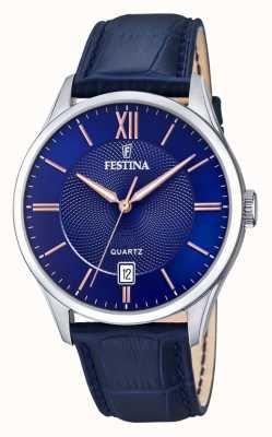 Festina  男士不锈钢 蓝色/玫瑰色表盘  blueleather   F20426/5