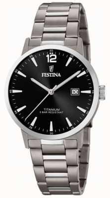 Festina |男士钛金表|黑色表盘|钛手链| F20435/3