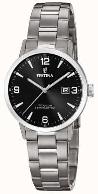 Festina |女式钛金表|黑色表盘|钛手链| F20436/3