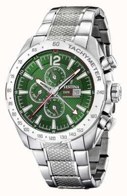 Festina |男士计时码表和双时间|绿色表盘|钢手链 F20439/3