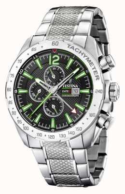 Festina |男士计时码表和双重时间|黑色/绿色表盘| F20439/6