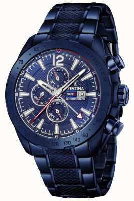 Festina |男士蓝色电镀计时码表|不锈钢手链| F20442/1