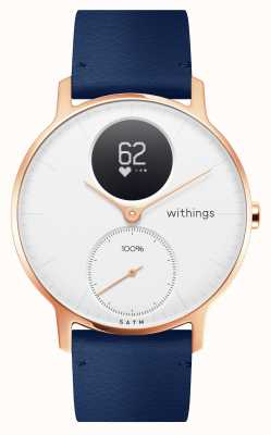 Withings 钢hr hr 36mm玫瑰金蓝色皮革(+灰色硅胶表带) HWA03B-36WHITE-RG-L.BLUE-ALL-INTER