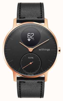 Withings 钢hr hr 36mm玫瑰金黑色皮革(+黑色硅胶带) HWA03B-36BLACK-RG-L.BLACK-ALL-INTER