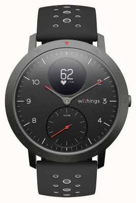 Withings 钢制hr运动40毫米黑色表盘黑色硅胶表带 HWA03B-40BLACK-SPORT-ALL-INTER