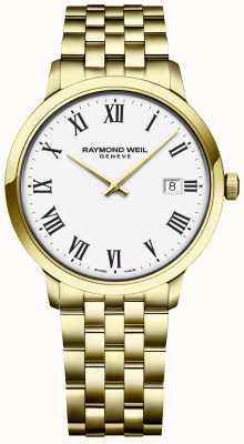 Raymond Weil |男士托卡塔|金色不锈钢手链|白色表盘 5485-P-00300