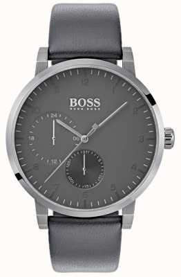 Boss 男士氧灰色真皮表带灰色表盘 1513595
