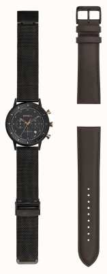 Breil |男士黑色stainlss钢网手表|多变的表带| TW1808
