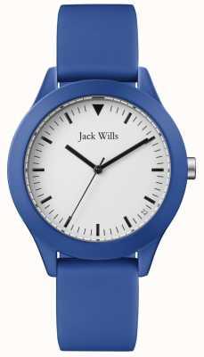 Jack Wills |男士蓝色橡胶表带|白色表盘| JW009BTBL