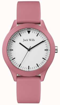 Jack Wills |男士粉红色橡胶表带|白色表盘| JW009JWPK