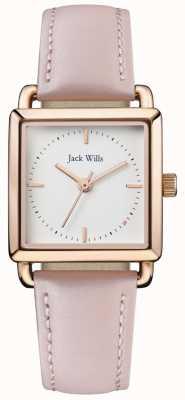 Jack Wills |女士们粉红色皮革|白色表盘| JW016WHPK