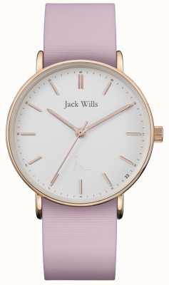 Jack Wills |女士sandhill粉红色硅带|白色表盘| JW018WHPK
