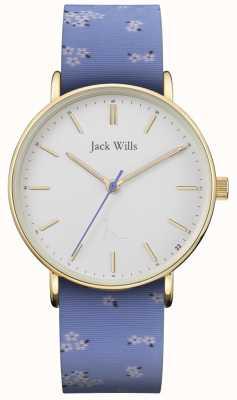 Jack Wills |女士sandhill蓝色硅胶表带|白色表盘| JW018FLBL