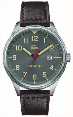 Lacoste |男士大陆|棕色皮革表带|灰色表盘 2011020
