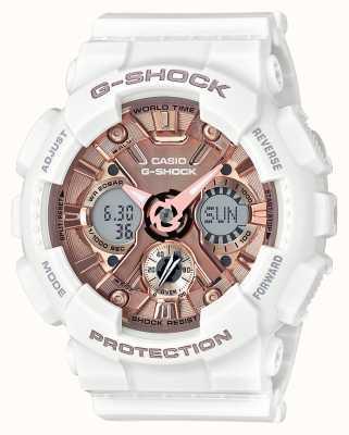Casio | g-shock白色和玫瑰金|模拟和数字| GMA-S120MF-7A2ER