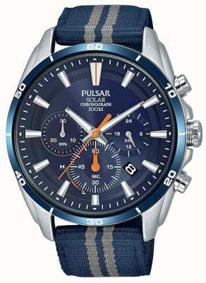 Pulsar 男装计时码表蓝色尼龙表带蓝色表盘 PZ5089X1
