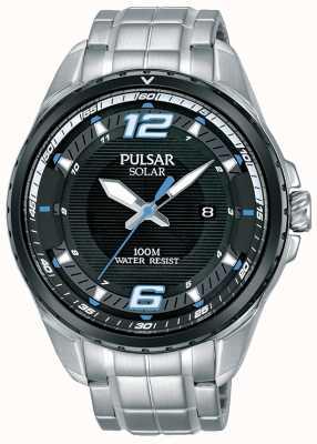 Pulsar 男士太阳能不锈钢手链黑色表盘 PX3127X1