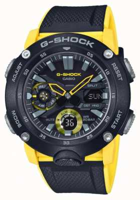 Casio | g-shock碳纤维芯护罩|黑色黄色表带| GA-2000-1A9ER