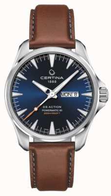 Certina | ds action day-date powermatic 80 |蓝色表盘|棕色表带 C0324301604100