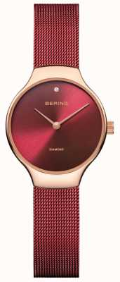 Bering |女性慈善手表|红色网带|红色表盘| 13326-CHARITY