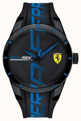 Scuderia Ferrari |男人的redrev | blackblue硅胶表带|黑色表盘| 0830616