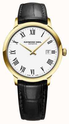 Raymond Weil |男士托卡塔|经典的pvd金表壳白色表盘| 5485-PC-00300