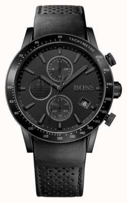 Hugo Boss |男士rafale计时码表|黑色表盘|黑色皮革表带 1513456