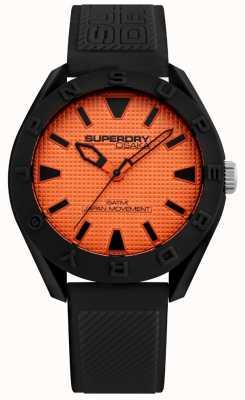 Superdry |男士大阪|黑色硅胶表带|橙色表盘| SYG243BO