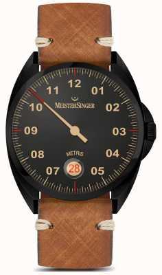 MeisterSinger Metris  - 黑色系棕色皮革表带黑色表盘 ME902BL