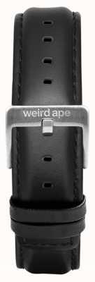 Weird Ape 黑色皮革16毫米表带银色搭扣 ST01-000045